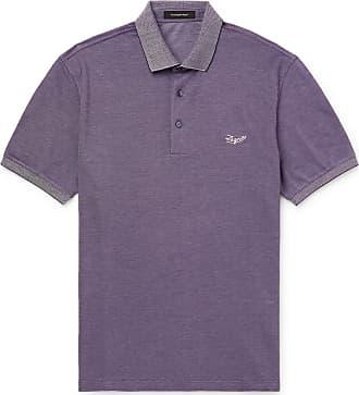 Ermenegildo Zegna Contrast-tipped Logo-embroidered Cotton-piqué Polo Shirt - Purple