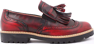Zapato Womens Leather Oxford Shoes Model 247 Black Red