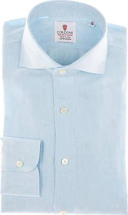 Cordone 1956 Camicia sartoriale Mod. Turquoise Linen Shirts - Tessuto lino - Colore turchese - Taglia 36