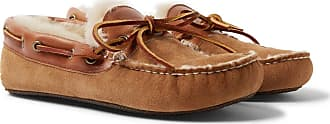 Quoddy Fireside Leather-trimmed Shearling-lined Suede Slippers - Brown