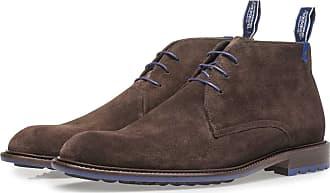 Floris Van Bommel Dunkelbrauner Kalbswildleder-Schnürschuh, Business Schuhe, Boots, Handgefertigt