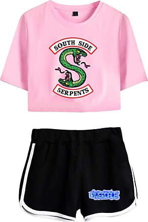 OLIPHEE Women Casual Tracksuits 2pc Tops and Shorts Pyjama Sets Riverdale Summer T-Shirt Striped Sport Wear Printed with South Side Serpent 5760 Pink Black XS