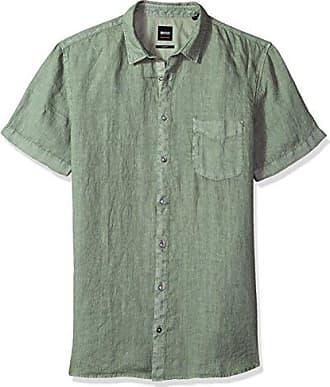 87fbd932 HUGO BOSS BOSS Orange Mens Short Sleeve Garment Dyed Linen Shirt, Green  Small
