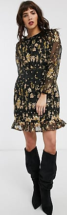 Object embroidered mini dress in black floral-Multi