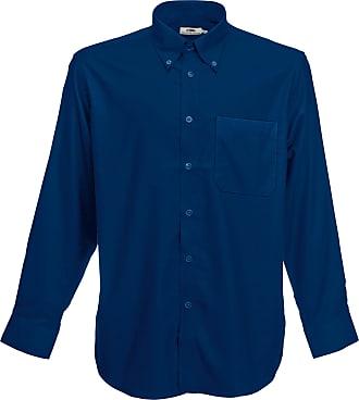 Fruit Of The Loom Oxford Long Sleeve Shirt SS114 (XXL, Navy)