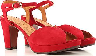 81dde4ed2bcea2 Chie Mihara Escarpin Bout Ouvert & Chaussure talon Pas cher en Soldes, Rouge,  Daim
