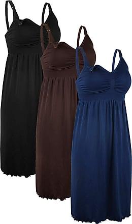 iLoveSIA 3Pack Womens Seamless Maternity Nursing Dress Built in Bra Nightdress for Breatfeeding Black+Coffee+Deep Blue Size 3XL