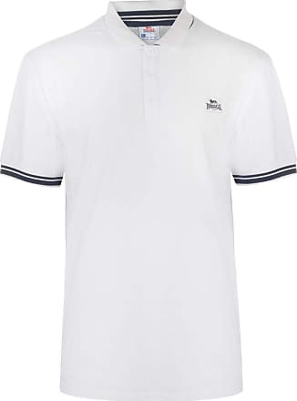 Lonsdale Mens Jersey Polo Shirt Classic Fit Tee Top Short Sleeve Button Placket White/Navy L