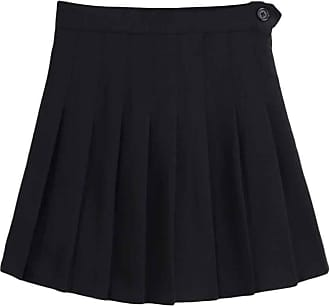 Inlefen Womens High Waist Quick-Dry Pleated Slim Fit Skirt Sport Workout and Fitness Tennis Mini Shorts Skater Skorts with Side Zipper(Black/2XL)