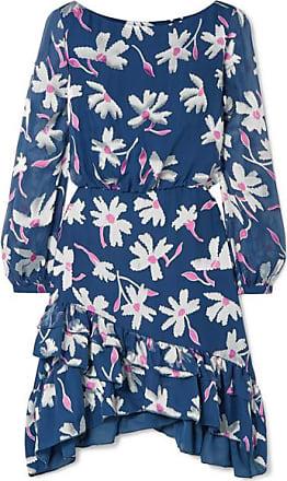 Saloni Felicia Ruffled Fil Coupé Silk-blend Chiffon Mini Dress - Blue
