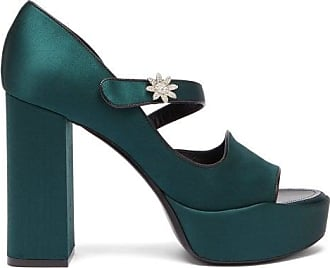 Fabrizio Viti Davis Crystal-embellished Satin Platform Sandals - Womens - Dark Green