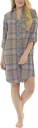 Foxbury Ladies Brushed Cotton Button Front Check Nightshirt Grey Check 16-18