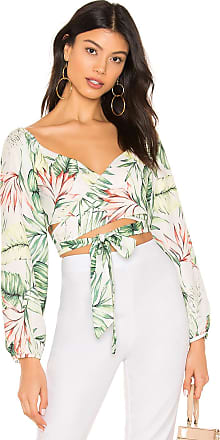 Superdown Piper Puff Sleeve Wrap Top in Green