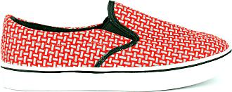 bernie mev. Womens Verona Woven Slip-On Sneaker (Red Reflective, 4)