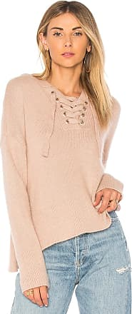 endless rose Lace Up Sweater in Taupe
