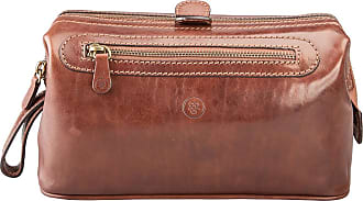 Maxwell Scott Maxwell Scott - Luxury Mens Large Leather Toiletry Bag in Tan