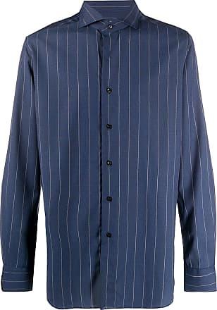 Xacus striped-print buttoned shirt - Blue