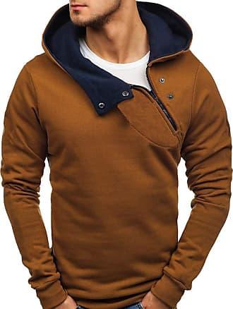 NPRADLA Mens Fashion Casual Daliy Winter Pure Color Splicing Sloid Zipper Long Sleeve Leisure Cotton Sweatshirt Hoodies Tshirts Outwear Blouse Brown