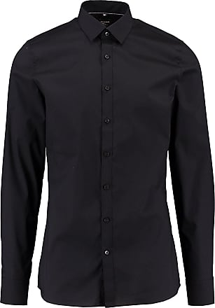 Olymp Mens Plain Classic Long Sleeve Formal Shirt Black Black - Black - 15.5