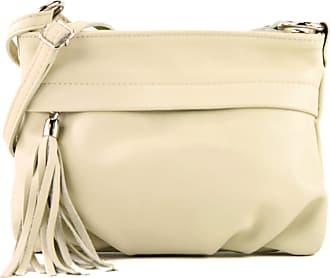 modamoda.de modamoda - ital. Shoulder Bag Handbag shoulder bag ladies bag leather mini T32, Colour:cream Beige