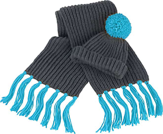 Result Winter Essentials Chunky Knit Hat and Scarf Set - 2 Colou - Grey/Mustard