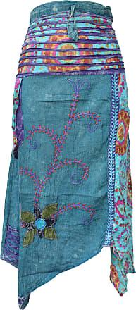 Gheri Hippie Cotton Stonewashed Embroidery Skirts Petrol