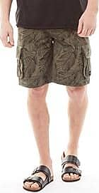 Animal twill cargo shorts with all over palm print detail