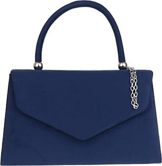 Girly HandBags Girly HandBags Top Handle Faux Suede Clutch Bag Grab Holder Womens Handbag - Navy