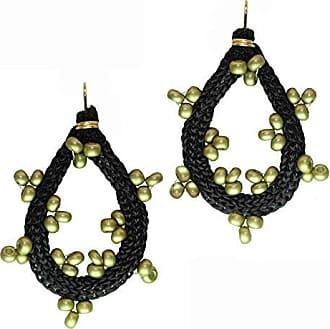 Tinna Jewelry Brinco Dourado Zig Zag Médio (Verde)