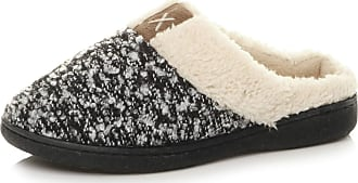 Ajvani Womens Ladies Grip Sole Comfort Winter Fur Lined Mules Slippers Scuffs Size 7 40