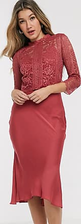 Little Mistress satin and lace midi dress in rose-Pink