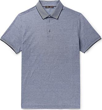 Loro Piana Mélange Cotton-piqué Polo Shirt - Navy