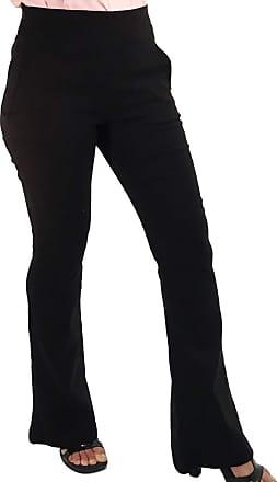 101 Resort Wear Calça Flare Cintura Alta com Pala e Bolsos Bengaline Elastano Preta (G)