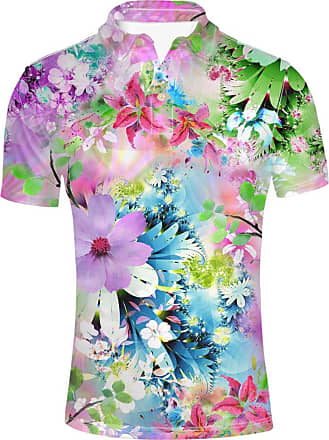Hugs Idea Flower Pattern Mens Golf Sport Shirt Summer Fashion Short Sleeve Hawaiian Aloha T-Shirt Tee
