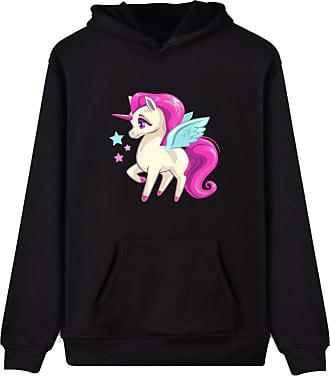 EUDOLAH Womens Hoodie Funny Cartoon Unicorn Print Sweatshirt Top (Black Star XL)