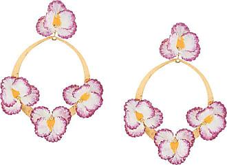 Jennifer Behr Par de brincos Violeta florais - Dourado