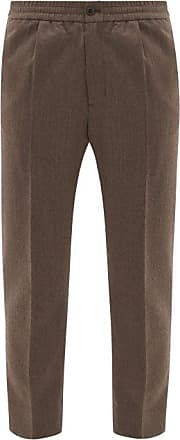 Ami Ami - Cropped Wool-fresco Suit Trousers - Mens - Light Brown