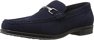 Stacy Adams Mens Newcomb Moc Toe Bit Slip-on Penny Loafer, Navy Suede, 11.5 M US