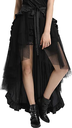 Belle Poque Steampunk Gothic Pirate Skirt High Low Victorian Lace-Up Ruffle Skirt Black XL