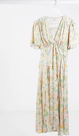 Topshop v-neck midi dress in cream floral-Multi