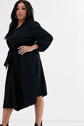 Asos Curve ASOS DESIGN Curve - Vestito camicia midi nero con vita increspata e bottoni