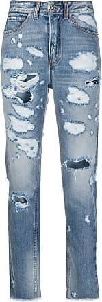 John Richmond Calça jeans cropped cintura alta - Azul