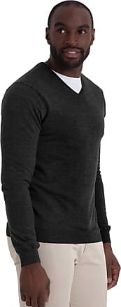 WoolOvers Mens New Merino V Neck Knitted Sweater Charcoal, S