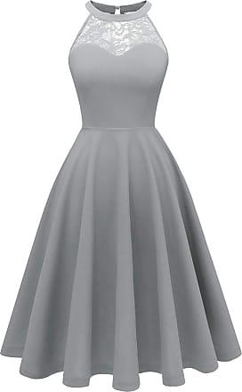 Bbonlinedress Womens Halter Bridesmaid Dress Short Vintage Party Formal Cocktail Swing Dress Grey 3XL