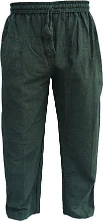 Gheri Mens Cotton Hemp Casual Lounge Trousers Green XX-Large