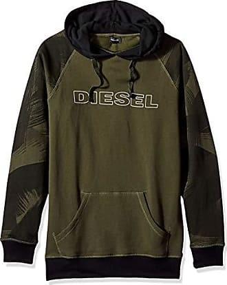 Diesel Mens UMLT-Brian Hooded Sweat-Shirt, Olive Night, XL