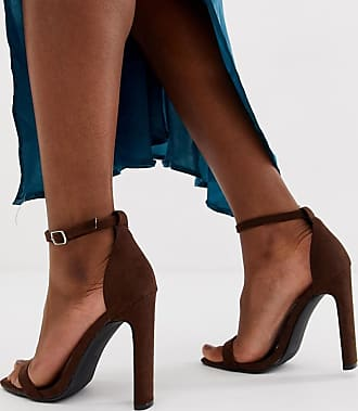 Missguided illusion barely there heel with square toe in chocolate-Brown