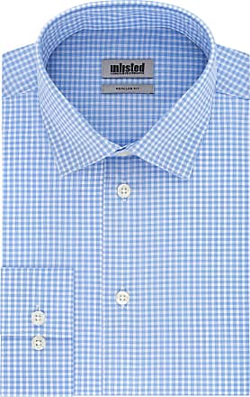 Unlisted by Kenneth Cole Mens Check Dress Shirt, Light Blue, 16-16.5 Neck 36-37 Sleeve (Large)
