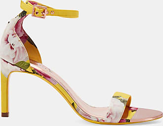Ted Baker Printed Straight Heel Sandal in Bright Yellow ULANIIP, Womens Accessories