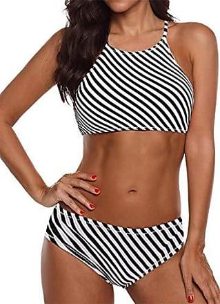 Bandeau Neckholder Bikini Punkte Streifen Bademode Strand Beachwear Größe 40 42